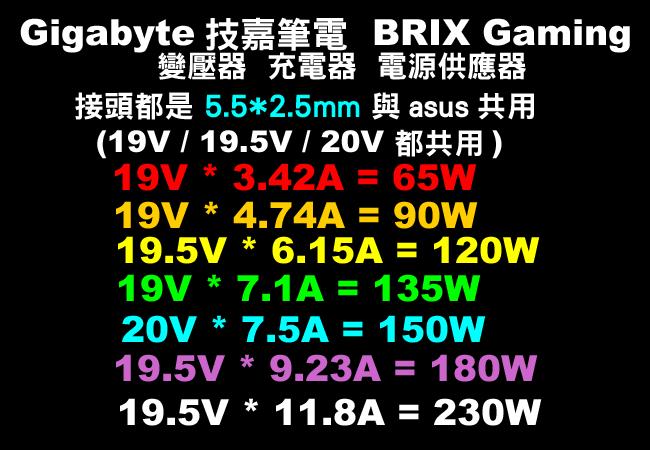 【技嘉NB 19V adapter 】19V (5.5*2.5mm接頭)  65W  90W 120W  135W 150W 180W