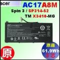 原廠 AC17A8M【 SP314-52= 61.9Wh】Acer SP314-52 TMX3410-MG 電池【3芯】