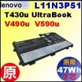 原廠【 T430u = 47Wh】Lenovo ThinkPad Edge T430u, V490u, V590u Ultrabook 電池【6芯 】